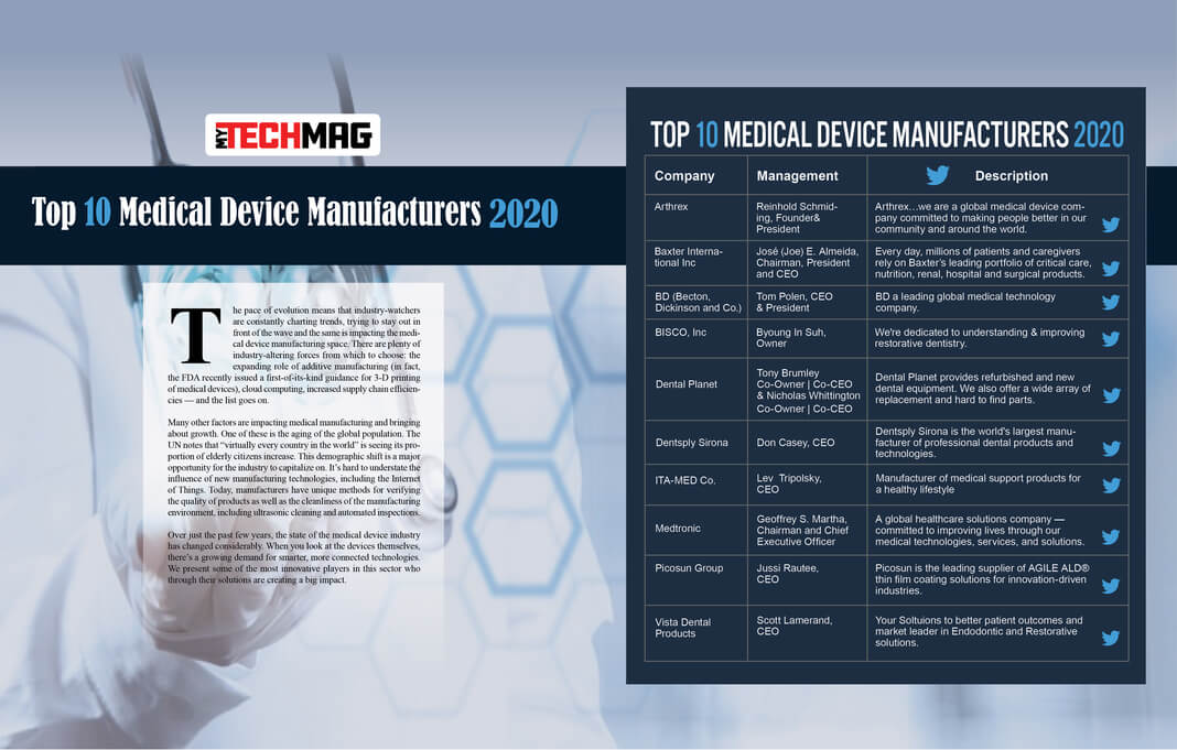 Top 10 Medical Device Manufacturers Solution Providers 2020